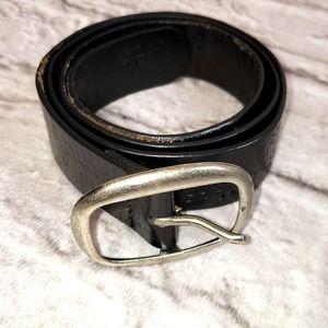 Black Genuine Leather Die-cut Belt size L